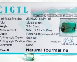 Certified|CIGTL~3.34Cts Museum Grade Green color Tourmaline Gem