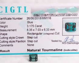 Certified|CIGTL~3.175 Cts Museum Grade Green color Tourmaline Gem