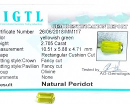 Certified|CIGTL~2.705 Cts Museum Grade Green color Tourmaline Gem