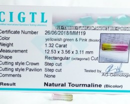 Certified|CIGTL~1.32 Cts Museum Grade bI  color Tourmaline Gem