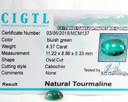 Certified|CIGTL~4.37 Cts Museum Grade Green color Tourmaline Cab
