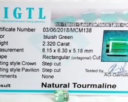 Certified|CIGTL~2.320 Cts Museum Grade Green color Tourmaline Gem