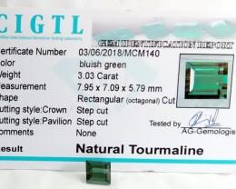 Certified|CIGTL~3.03 Cts Museum Grade Green color Tourmaline Gem