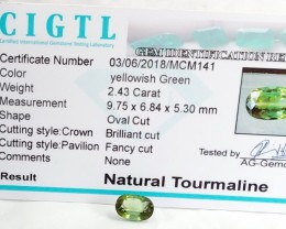 Certified|CIGTL~2.43 Cts Museum Grade Green color Tourmaline Gem