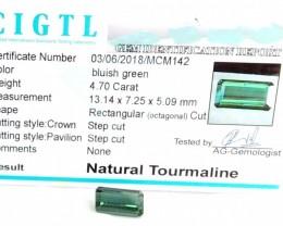 Certified|CIGTL~4.70 Cts Museum Grade Green color Tourmaline Gem
