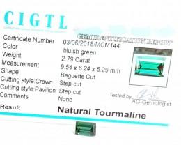 Certified|CIGTL~2.79 Cts Museum Grade Green color Tourmaline Gem