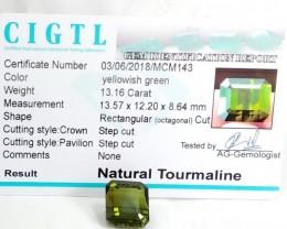 Certified|CIGTL~13.16 Cts Museum Grade Green color Tourmaline Gem
