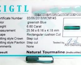 Certified|CIGTL~6.60 Cts Museum Grade Green color Tourmaline Gem