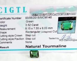 Certified|CIGTL~3.52 Cts Museum Grade Green color Tourmaline Gem
