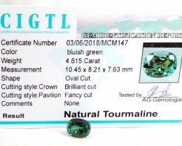 Certified|CIGTL~4.615 Cts Museum Grade Green color Tourmaline Gem