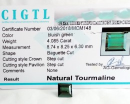 Certified|CIGTL~4.085 Cts Museum Grade Green color Tourmaline Gem