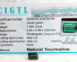 Certified|CIGTL~3.385 Cts Museum Grade Green color Tourmaline Gem