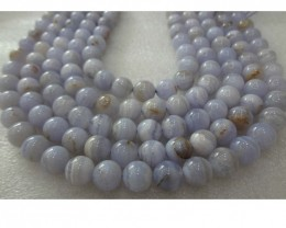 Bluelace Agate stone necklace  10 mmTop Quality