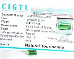 Certified|CIGTL~2.455 Cts Museum Grade Green color Tourmaline Gem