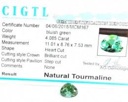 Certified|CIGTL~4.085 Cts Museum Grade Green color Tourmaline Gem