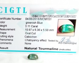 Certified|CIGTL~3.11 Cts Museum Grade Green color Tourmaline Cab