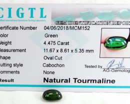 Certified|CIGTL~4.475 Cts Museum Grade Green color Tourmaline  Cab