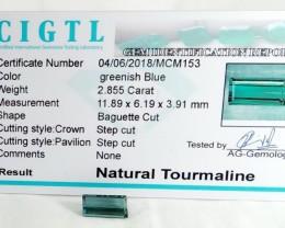 Certified|CIGTL~2.855 Cts Museum Grade Green color Tourmaline Gem