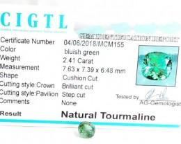 Certified|CIGTL~2.41 Cts Museum Grade Green color Tourmaline Gem