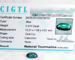 Certified|CIGTL~3.415 Cts Museum Grade Green color Tourmaline Cab
