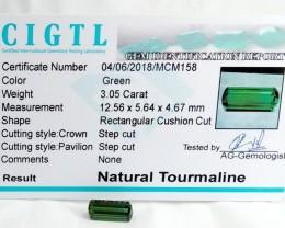 Certified|CIGTL~3.05 Cts Museum Grade Green color Tourmaline Gem