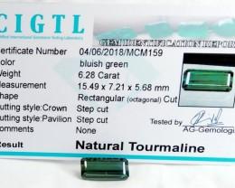 Certified|CIGTL~6.28 Cts Museum Grade Green color Tourmaline Gem