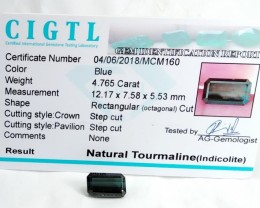 Certified|CIGTL~4.765 Cts Museum Grade Blue color Tourmaline Gem
