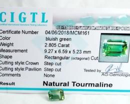 Certified|CIGTL~2.805 Cts Museum Grade Green color Tourmaline Gem