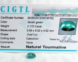 Certified|CIGTL~3.175 Cts Museum Grade Green color Tourmaline Cab
