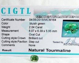 Certified|CIGTL~2.04 Cts Museum Grade Green color Tourmaline Gem