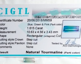Certified|CIGTL~1.615 Cts Museum Grade Bi color Tourmaline Gem