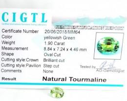 Certified|CIGTL~1.90 Cts Museum Grade Green color Tourmaline Gem