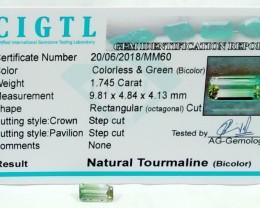 Certified|CIGTL~1.745 Cts Museum Grade Green color Tourmaline Gem
