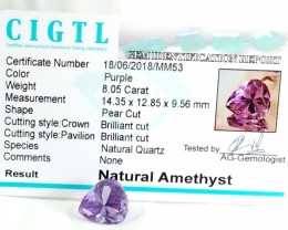 Certified CIGTL | 8.05 Ct| Museum Grade | Purple Amethyst Gemstone