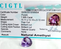 Certified CIGTL | 7.895 Ct| Museum Grade | Purple Amethyst Gemstone
