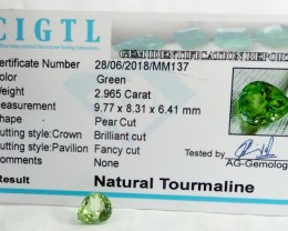 Certified|CIGTL~2 .965 Cts Museum Grade Green color Tourmaline Gem