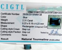 Certified CIGTL~2.31 Cts Museum Grade Blue  color Tourmaline Gem