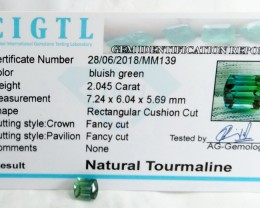 Certified|CIGTL~2.045 Cts Museum Grade Green color Tourmaline Gem