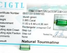 Certified|CIGTL~3.065 Cts Museum Grade Green color Tourmaline Gem