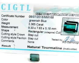 Certified|CIGTL~3.365 Cts Museum Grade Blue color Tourmaline Gem