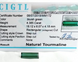 Certified|CIGTL~4.385 Cts Museum Grade Green color Tourmaline Gem