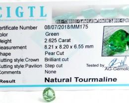 Certified|CIGTL~2.625 Cts Museum Grade Green color Tourmaline Gem