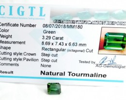 Certified|CIGTL~3.29Cts Museum Grade Green color Tourmaline Gem