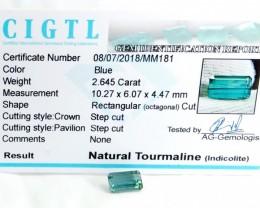 Certified|CIGTL~2.645 Cts Museum Grade Blue color Tourmaline Gem