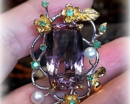Outstanding Ametrine Emerald Pearl pendant - .925 Sterling Silver and 14kt