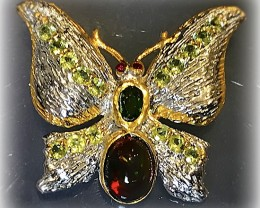 Exquisite Butterfly Brooch - Black Opal Peridot Sterling Silver and Gold
