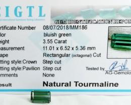 Certified|CIGTL~3.55 Cts Museum Grade Green color Tourmaline Gem