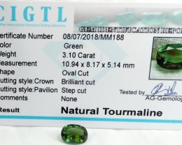 Certified|CIGTL| ~3.10 Cts Museum Grade Green color Tourmaline Gem