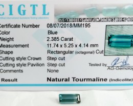 Certified|CIGTL| ~2.385 Cts Museum Grade Blue color Tourmaline Gem