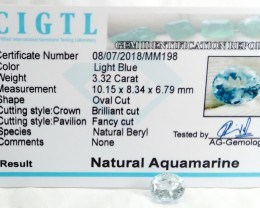 Certified CIGTL |3.32 Ct| Museum Grade | Blue Aquamarine Gemstone